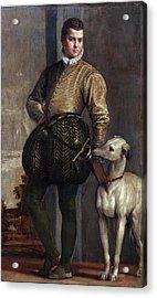 Boy With A Greyhound Acrylic Print