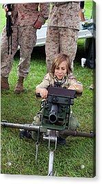 Boy With Machine Gun Acrylic Print by Jim West