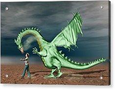 Boy With Pet Dragon Acrylic Print by Carol & Mike Werner