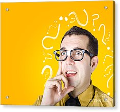 Brainy Man Puzzle Solving On Question Background Acrylic Print
