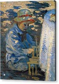 Breakfast In The Garden Acrylic Print by Claude Monet