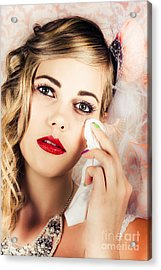 Bride Crying Tears Of Joy During Marriage Vows Acrylic Print