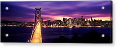 Bridge Lit Up At Dusk, Bay Bridge, San Acrylic Print by Panoramic Images