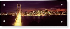 Bridge Lit Up At Night, Bay Bridge, San Acrylic Print