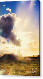 Bright Australian Rural Farm Field Taken Sundown Acrylic Print