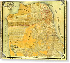 Britton And Reys Guide Map Of The City Of San Francisco. 1887. Acrylic Print