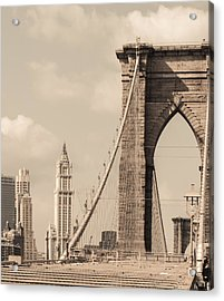 Brooklyn Bridge And Woolworth Building Acrylic Print