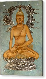 Buddha Acrylic Print by Mary jane Miller