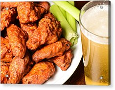 Buffalo Wings With Celery Sticks And Beer Acrylic Print