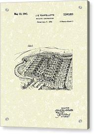Building Construction 1941 Patent Art Acrylic Print by Prior Art Design
