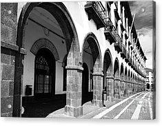 Buildings In Ponta Delgada Acrylic Print by Gaspar Avila