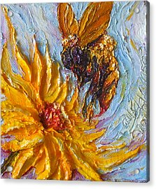 Bumble Bee And Yellow Flower Acrylic Print by Paris Wyatt Llanso