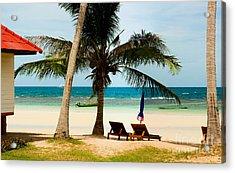 Bungalow On Paradise Island Acrylic Print by Fototrav Print
