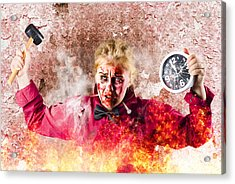 Burning Girl Holding Clock And Hammer. Apocalypse Now Acrylic Print by Jorgo Photography - Wall Art Gallery