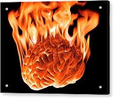 Burning Human Brain Acrylic Print by Victor De Schwanberg