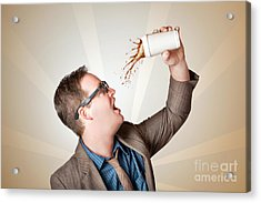 Business Man Drinking A Quick Coffee On The Go Acrylic Print