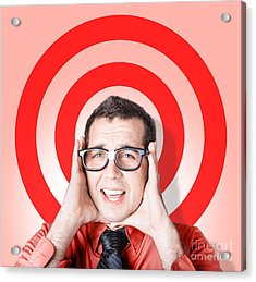Business Man In Fear On Target Background Acrylic Print by Jorgo Photography - Wall Art Gallery