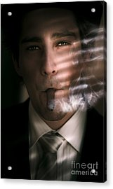 Business Man Smoking Cigar In Victory And Success Acrylic Print by Jorgo Photography - Wall Art Gallery