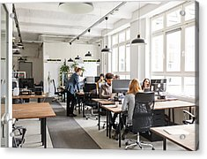 Business People Working In Modern Office Space Acrylic Print by Alvarez