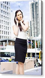 Business Person Talking On Mobile Phone In Street Acrylic Print by Jorgo Photography - Wall Art Gallery