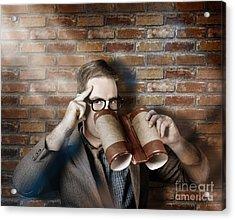Business Spy Looking Through Innovative Binoculars Acrylic Print by Jorgo Photography - Wall Art Gallery