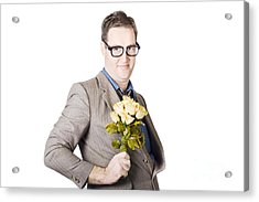 Businessman Holding Bouquet Acrylic Print by Jorgo Photography - Wall Art Gallery