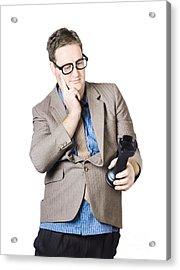 Businessman Holding Rook Acrylic Print by Jorgo Photography - Wall Art Gallery