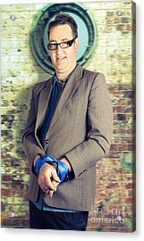 Businessman In Stress With Hands Bound Up Acrylic Print by Jorgo Photography - Wall Art Gallery