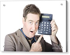 Businessman Pointing At Calculator Acrylic Print by Jorgo Photography - Wall Art Gallery