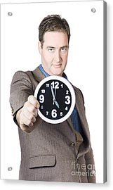 Businessman Showing Clock Acrylic Print by Jorgo Photography - Wall Art Gallery