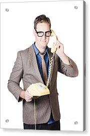Businessman Talking On Retro Telephone Acrylic Print by Jorgo Photography - Wall Art Gallery