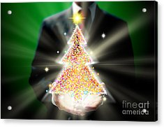 Businessman With Christmas Acrylic Print by Atiketta Sangasaeng