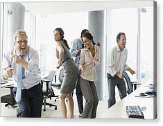 Businesspeople Dancing In Office Acrylic Print by Paul Bradbury