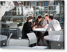 Businesspeople In Office Meeting Acrylic Print by Tom Merton