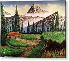 Acrylic Print featuring the painting Cabin In The Mountains by Michael Rucker