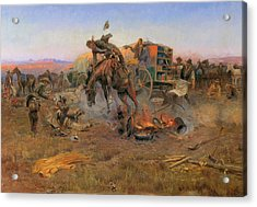Camp Cook's Troubles Acrylic Print by Charles M Russell