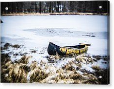 Canoe At The Frozen Lake Acrylic Print