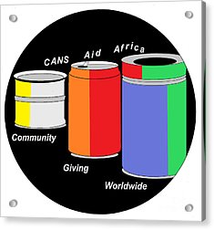 Cans Aid Africa Community Giving Worldwide Acrylic Print by Mudiama Kammoh
