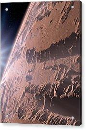 Canyons On Mars Acrylic Print by Detlev Van Ravenswaay
