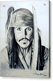 Johny Depp - The Captain Jack Sparrow Acrylic Print by Tanmay Singh