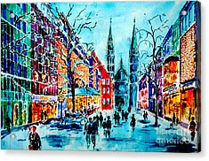 Acrylic Print featuring the painting Carolines Shopping Street by Alfred Motzer