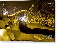 Carr Bridge At Night In Winter Acrylic Print by Duncan Shaw