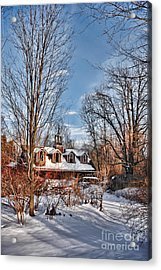 Carriage House In Snow Acrylic Print by HD Connelly