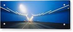 Cars On A Suspension Bridge, Bay Acrylic Print by Panoramic Images