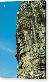 Carved Face At Bayon Temple Angkor Cambodia Acrylic Print by Fototrav Print