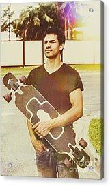 Casual Skateboarder Man With Longboard Skate Deck Acrylic Print by Jorgo Photography - Wall Art Gallery
