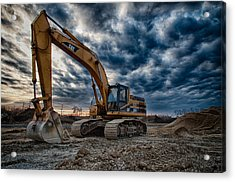 Cat Excavator Acrylic Print by Mike Burgquist