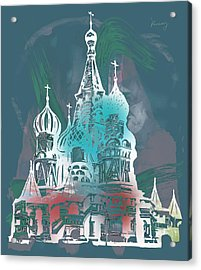 Cathedral Of St Basil  Kremlin Moscow  - Pop Stylised Art Poster  Acrylic Print by Kim Wang