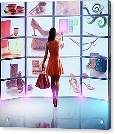 Caucasian Woman Shopping Online Acrylic Print