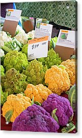 Cauliflower Market Stall Acrylic Print by Jim West